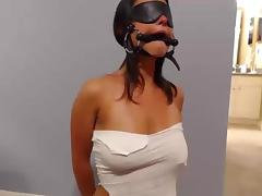 Cuffed  blindfolded  gagged tube porn video