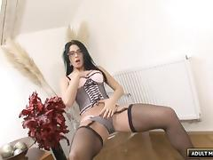 Nerdy babe who loves to read books decides to ride the pecker tube porn video