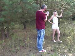 Petite Teen Blonde Hardcore sex in forest with Stepdad tube porn video