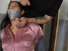 Pink shirt woman in basement tube porn video