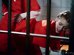 Pair of attractive inmates having a lesbian session in the prison tube porn video