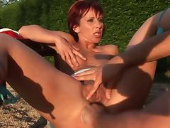 Redhead cougar fucks the hot waiter hunk outdoors tube porn video