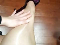 Amateur milf in sheer stockings and heels leather skirt tube porn video