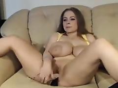 Big titted curvy woman masturbate on cam tube porn video