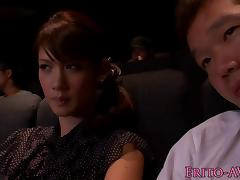 Japanese model gf blowing cock in cinema tube porn video