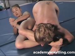 Strap-on dildo sex between Lesbian on Academy Wrestl tube porn video