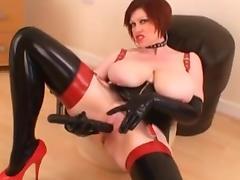Mature British Latex Milf Dildo Big Tits tube porn video