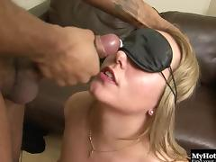 Foxy blindfolded blonde gets to ride on top of a black boner tube porn video