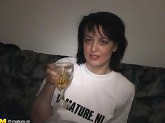 Sexy Dutch cougar decides to masturbate with a bottle of Serbian beer tube porn video