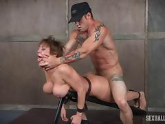 Busty bombshell enjoys pleasuring two massive dicks in the dungeon tube porn video