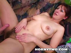 Hairy brunette stepmom meeting her young stepsons big dick tube porn video