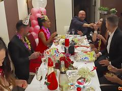 Good-looking girls want to turn this birthday party into a real orgy tube porn video