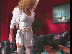 Bisexual retro honeys eating each other out while getting pummeled tube porn video