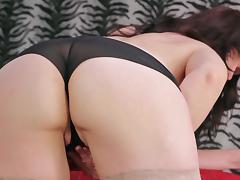 Nice ass mature diva stripteasing then fingering pussy tube porn video