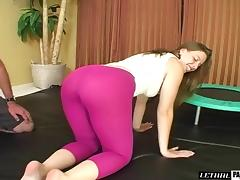 Sexy dame in gym uniform enjoying her shaved pussy fucked tube porn video