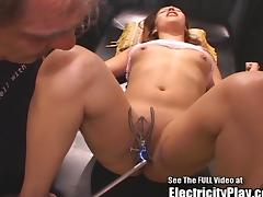 Petite Latina Small Tits Electro Pussy Shocked and Blowjob tube porn video