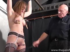 Teen slave Taylor Hearts nipple clamp punishment and pussy torments tube porn video