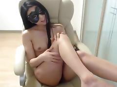Oriental_girl: brunette fucks herself in a chair tube porn video
