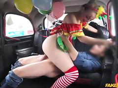 Driver Fucks Cute Valentine Clown - FakeTaxi tube porn video