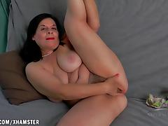 Nina fingers her big hairy pussy tube porn video
