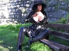 Busty Polka Dot Diva - Public Blowjob Handjob with Latex Gloves - Cum on my Gloves tube porn video