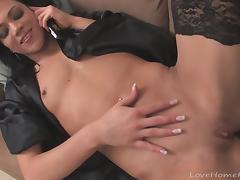 Hottie in stockings masturbates while on the phone tube porn video