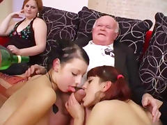 Young girls dance for grandpa before suck his cock tube porn video