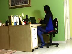 Milf in the office in sexy dress blue tube porn video