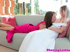 Bride Aurielee Summers seduced by bridesmaids tube porn video