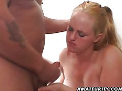 Chubby babe sucking a cock then riding tube porn video