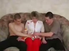 Russian Granny Fucking With Two Young On The Couch mature mature porn granny old cumshots cumshot tube porn video