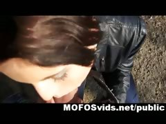 Sexy brunette public fuck in the park tube porn video