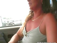 Car blowjob with hot and horny MILF tube porn video