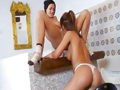 Lesbian nymphos have fun with vibrator tube porn video