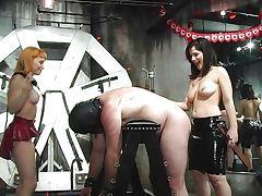 Hot mistresses spanking bonded guy tube porn video