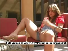 Ingenious Mya long hair redhead babe masturbating outdoor tube porn video