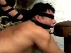 Blindfolded guy sucks tranny dick tube porn video