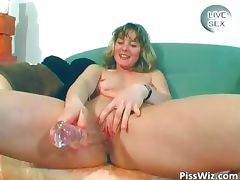 Horny MILF brunette piss and fuck her part1 tube porn video