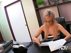 Sexy blonde secretary Victoria White playing with her pussy and giving a blow job in office tube porn video