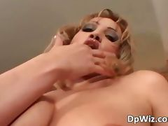 Slutty blonde babe gets DPed as these tube porn video