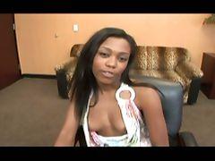 Ebony chick's interracial office fuck tube porn video