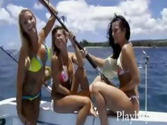 Three sexy hotties tryout sandboarding and frisky fishing tube porn video