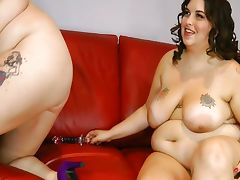 2 Busty BBW Lesbians Lick Big Belly and Pussy tube porn video