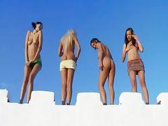 Four lesbian babes masturbate together tube porn video