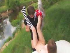 18yo russian teenie fucked on the car tube porn video