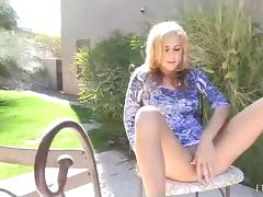Patio Masturbation With The Blonde Babe Ashley And A Thick Cucumber tube porn video
