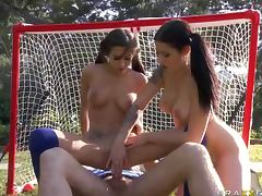 Brunette Sports Sluts April O'Neil and Daisy Cruz Get Threesomed tube porn video