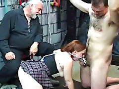 Old geezer dominates a schoolgirl and a chained tube porn video