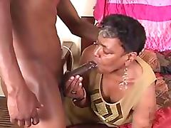Chubby Ebony Granny Gets a Teen Cock In Her Mouth and Pussy tube porn video