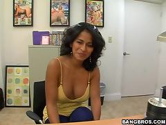 POV video with horny Colombian MILF getting fucked in the office tube porn video